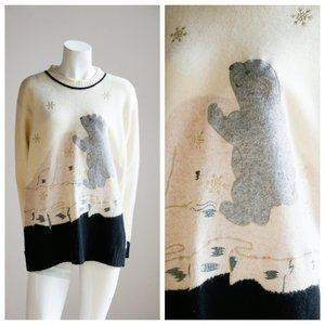 Vintage Angora Wool Baby Polar Bear Motif Lightwei
